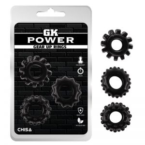 KIT DE ANÉIS PENIANOS CHISA GEAR UP RINGS PRETO